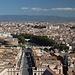 Petersdom (Basilica di San Pietro in Vaticano) - Ausblick von der Kuppel zur Engelsburg (Castel Sant'Angelo) und zur Engelsbrücke (Ponte Sant'Angelo), die den Tiber (Tevere) überquert. Links ist auch ein Teil des Passetto di Borgo zu sehen, der Fluchtgang verbindet den Vatikan mit der Engelsburg.