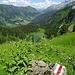 bei der Alphütte Stockalp geht's hinunter ...