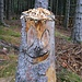 Lustige Holzskulptur