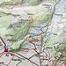 Karte am Ausgangspunkt. Der Umkehrpunkt lag rechts oben außerhalb der Karte. Routeneintrag in türkis