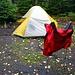 Unser zeites Camp zwischen Little Haystack und Basin. Hier stand vor langer Zeit mal ein Lean-to. Die einzige flache Stelle weit und breit.