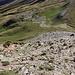 """Im Abstieg vom Monte Gorzano - Der """"Weg"""" durch die Südseite des Gipfelaufbaus ist relativ steil und teilweise unangenehm rutschig/schuttbedeckt."""