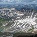 Blick ins Yankee Boy Basin, unserem Weg. Wright Lake ist da, und Gilpins Peak, rechts der Blue Lake Pass