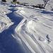Skispuren im Negativ... Wäre der Wind nur etwas weniger gewesen, würd man jetzt noch Pulver finden...