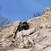 Passaggio chiave del tiro: una bellissima lama staccata che offre una bellissima arrampicata