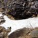 das Schneefeld lässt sichgut umgehen, am Ende muss man wieder auf die Felsen aufsteigen um zur Brücke zu kommen.