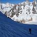 in discesa sul Glacier du Mont Mallet