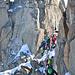 secondo passaggio infido: traversino molto esposto sul Glacier du Mont Mallet