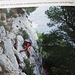 hier sieht man die Steilheit des Abstiegs deutlicher. Man sieht auch, wo das Seil endet. Bild entnommen dem Rother Wanderführer Côte d'Azur von Daniel Anker [