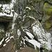 """Rocher des Trois Tables, Blick von oben auf den """"Klettersteig"""". Eigentlich kein Wetter zum Klettern."""