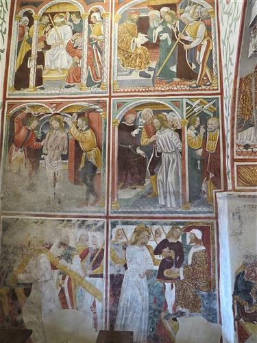 Terza campata. Parete nord (dall'alto): Cristo deriso; Cristo davanti ad Anna; Cristo flagellato; Cristo davanti ad Erode; Salita al Calvario; Cristo davanti a Pilato;