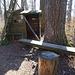 Pausenplatz sogar mit kleiner Hütte unter dem Hochsitz