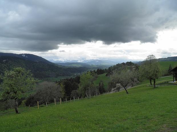Blick Richtung Bregenzer Wald, viel zu sehen gibt es heute nicht
