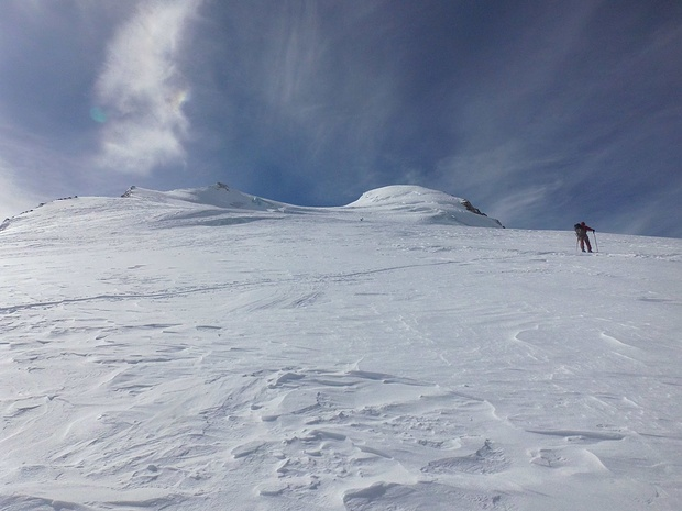 Aufstieg im steilen Gletscherhang
