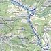 Kartenausschnitt mit Route: Steinchräzeren - Chräzerli - Unghürflüeli - Steinflue - Gmeinflüeli - Rossfall.