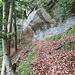 Das oberste Felsband auf IVS 482.1, von den in den Stein gehauenen Stufen gesehen. Der Weg ist nun wieder gut sichtbar.