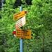 La palina all' altezza del ponte da attraversare (dal sentiero si gira a sinistra provenendo dal parcheggio), direzione Alp de Campel Bass / Alt, Passo de Campel Alt e Alp de Quarnei in Valle della Forcola
