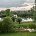 Auf dem Rheindeich bei Marlen: Blick rüber nach Frankreich zu den Vogesen