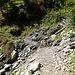 Der zu den Wasserfassungen führende Weg quert das Aclatobel bequem.