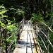 die arg ramponierte Brücke über die Binna