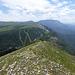 Blick zurück auf die Skiabfahrten zum Col de Rousset
