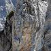 Die Kletterstelle im Übergang vom Hauptgipfel zum östlichen Nebengipfel (III+)