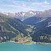 Blick ins Langtauferer Tal und zum Reschensee