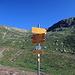 Wegweiser in Gendusas, (2173 m) nun geht es weiter zur nächsten Bergstation, Lai Alv.