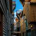 Häuserschlucht in Bryggen - UNESCO Weltkulturerbe