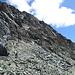 Rückblick auf die Gipfelflanke, die man komplett quert