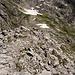 Bereits im Abstieg. Diesmal nicht via Schuttrinne in der Nordflanke, sondern über Steilschrofen und Kletterstellen (II) rechts des Grates. Kam mir so leichter vor.