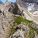 Dieses mal steigen wir am Grat nicht gleich rechts über die Steilschrofen ab, sondern begehen den Grat ein deutlich längeres Stück (an und für sich einfach, gelegentlich I/I+).