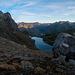 Nei pressi del Passo del Lago Nero, con il sole che sorge sulle montagne di Formazza e dell'Oberland