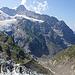 Rückblick zur Bänisegg, links oben hinten Mönch und rechts davon Eiger und unterhalb der Ischmeer Gletscher