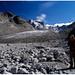 Blick zurück nach Verlassen des Gletschers, am von unten gesehen rechten Rand sind wir abgestiegen.