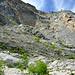 Nur kurz neigt sich die Wand zurück. Der Steig quert von rechts - nach links um den Felskopf (Mitte) herum - der Bild-Diagonale folgend