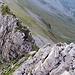 Tiefblick ins Aufstiegscouloire vom Ober Balmer Butzli.