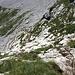 Eine steile Stufe ist mit Drahtseilen gesichert und führt ...