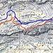 Blau ist unsere gelaufene Route, rot wäre eine einfacher Variante!