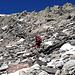 Il ripido pendio finale per raggiungere la cresta finale del Valdraus