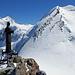 Statue am Pollux Südwestgrat mit morgigem Gipfelziel.