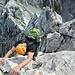 im Abstieg am Ostgrat in der ersten 3er Stelle
