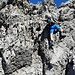 Die letzte anspruchsvolle Stelle unmittelbar vorm Gipfel. Tritte und Griffe sind eher klein, für mich die Schlüsselstelle (II+).