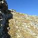 oben sieht man bereits den Gipfelsteinmann - der Hang bietet keinerlei Probleme, wenn er auch ein wenig steiler ist, als es hier den Anschein hat