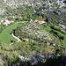Cirque de Navacelles, ursprüglich floss das Wasser über die heute grünen Flächen