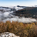 Das Nebelmeer ohen Wanderin. Netterweise haben sich die tiefen Nebelwolken nicht aufgelöst und verzauberten uns ganztägig die Panoramen.