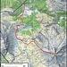 Meine Route mit Ski auf den Piz Daint (2968,3m). Im Sommer wählt man besser die Route über markierte Wanderwege. Dabei geht man von der Brücke P.2219m zur Chasa da Cunfin (2289m) und erreicht über Döss dal Termel den Grat beim Wegweiser P.2650m.