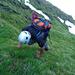 Sehr steiles, nasses, aber griffiges Gras im Aufstieg zum Sichli