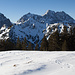 Rappenklammspitze im Vordergrund (vom Vorgipfel des Hochalplkopfs)