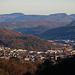 Aussicht von den Bruederhalden unterhalb der Ruine Neu Schauenburg auf Liestal (329m).<br /><br />Am Horizont sind links die Geissflue (962,8m) und rechts die beiden Hügel Leutschenberg (927m) und Walmattberg (910m).
